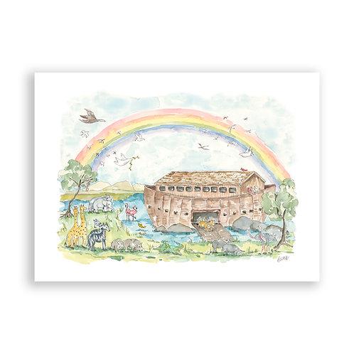 """""""Noah's Ark Watercolor"""" Instant Download"""