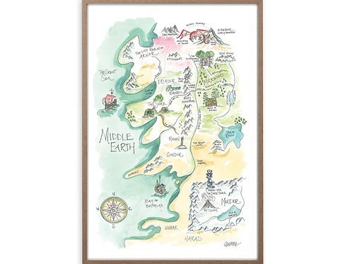 """""""Lord of the Rings Middle Earth Story Map"""" Print"""