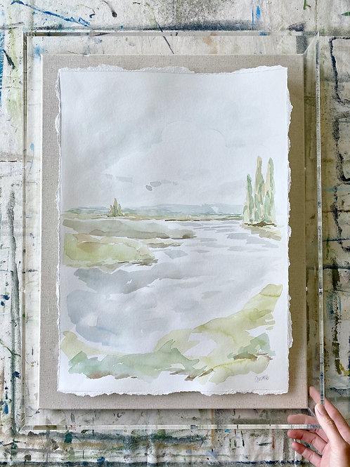 """""""Lake Watercolor"""" 18x24 shadowbox"""