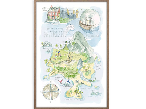 """Peter Pan's Neverland Story Map"" Print"
