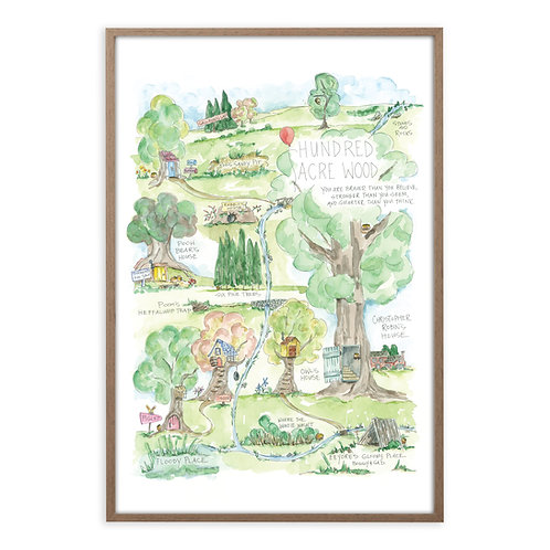 """Hundred Acre Wood Story Map"" Print"