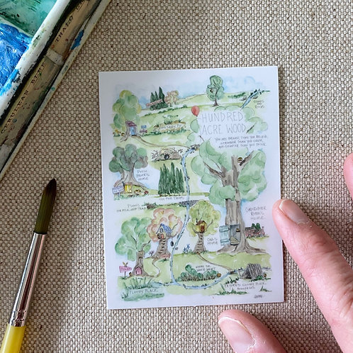 """""""Pooh's Hundred Acre Wood Story Map"""" Sticker"""