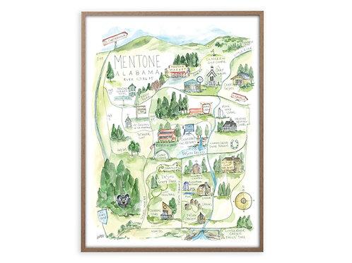 """Mentone, Alabama Map"" Print"