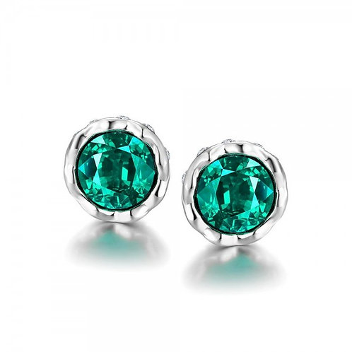 Korina White Gold Plated Earrings (Green Stone)