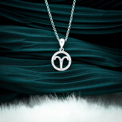 Zodiac Sign Aries 925 Silver Necklace