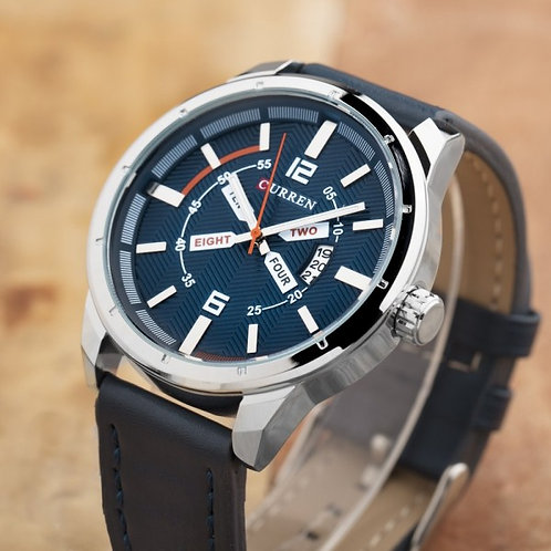Davis Leather by Curren Blue Strap and Blue Face