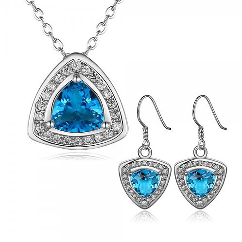 CARey18K White Gold Plated Necklace and Dangling Earrings Set