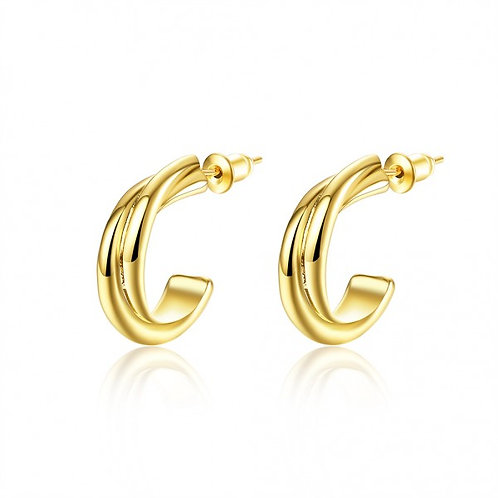 Luna 18K Gold Plated Half Moon Earrings