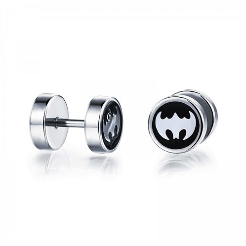 Round Earrings with Batman Paint