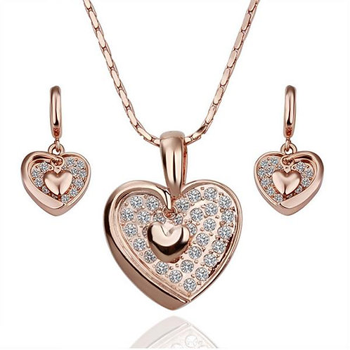 Natalia Heart 18k Rosegold Plated Necklace and Earrings Set
