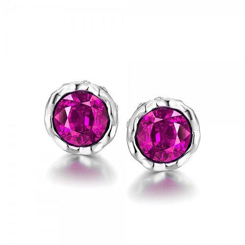 Korina White Gold Plated Earrings (Pink Stone)