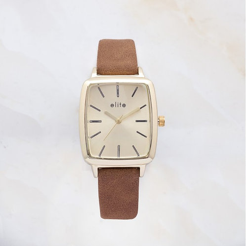 Ayen Gold Plated Watch Coffee Brown Leather Strap