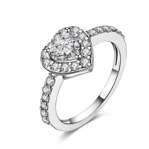 Jenna 18k White Gold Plated Heart Ring