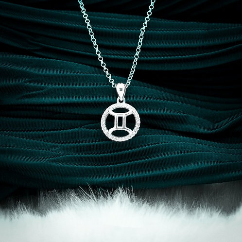 Zodiac Sign Gemini 925 Silver Necklace
