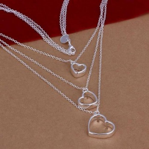 Magdalena Silver Plated 3-Layered Heart Necklace