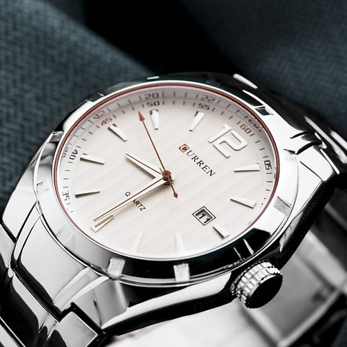 James Stainless Steel Watch by Curren White Face
