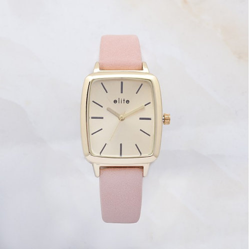 Ayen Gold Plated Watch Nude Rose Leather Strap