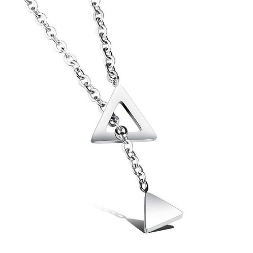 Trigon 316L Stainless Steel Silver Necklace