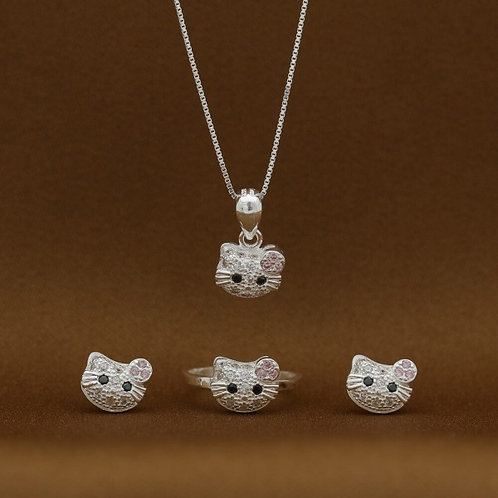 Hello Kitty Stoned Face 925 Silver Earrings Necklace and Ring Set for Kids