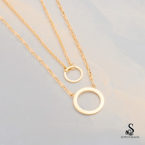 Ostine Stainless Steel Gold Plated Double Layered Necklace