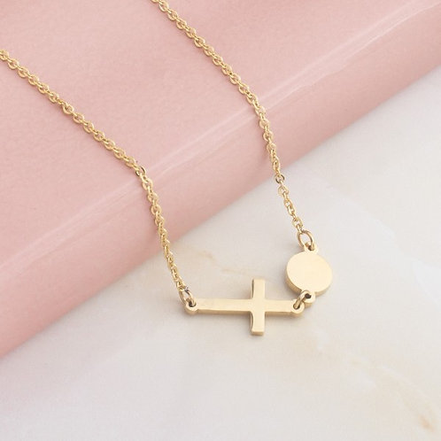 Perpetua Cross Stainless Steel Gold Plated Necklace