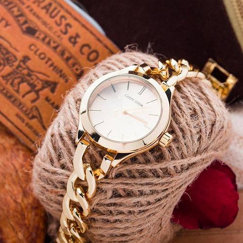 Cadence Gold White Face Carpe Diem Watch (Overrun)