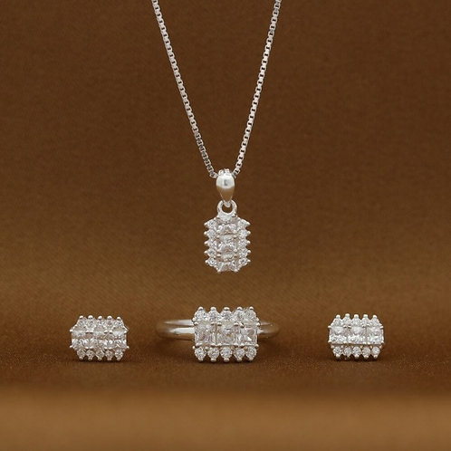 Antoinette 925 Silver Necklace Earrings and Ring Set (Clearance Sale SRP 1399 )