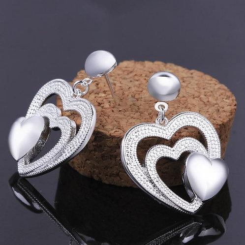 Francine Triple Heart Silver-Plated Earrings