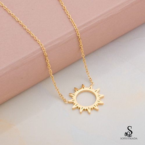 Coachella Sun Stainless Steel Gold Plated Double Layered Necklace