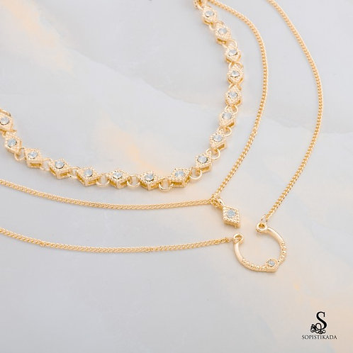 Aliah Stainless Steel Gold Plated Triple Layered Necklace