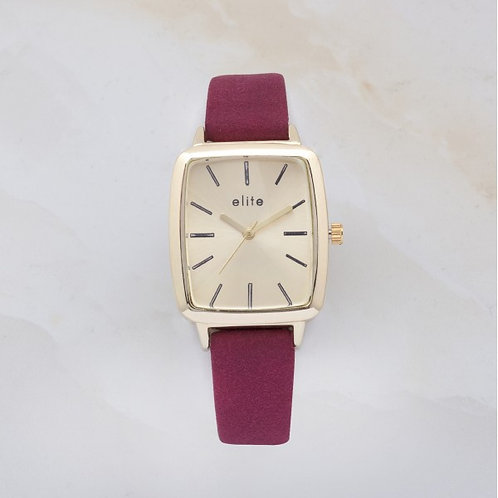 Ayen Gold Plated Watch Russian Red Leather Strap