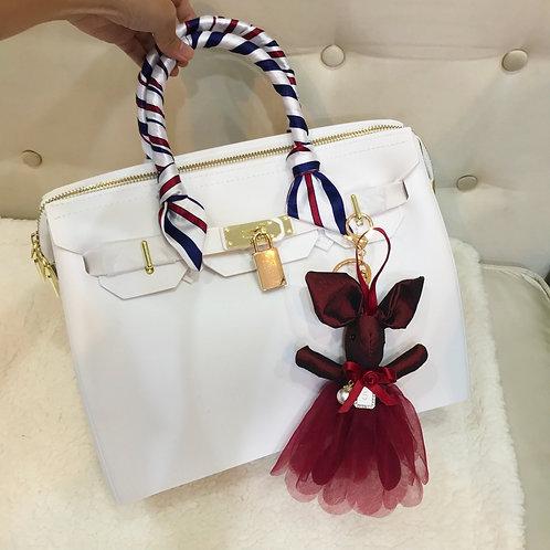 Rabbit with dress bag charm