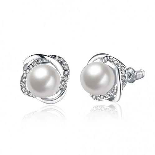 Nancy Pearl White Gold Plated Earrings by Elite