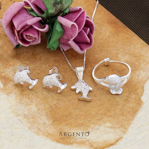 Dolphin 925 Silver Earrings Necklace and Ring Set for Kids