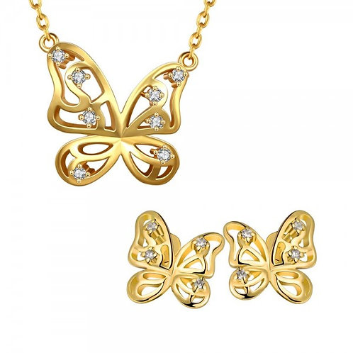 Savanah Butterfly Necklace and Earrings Set