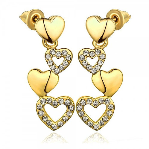 18k Gold Plated Trina Heart Dangling Earrings