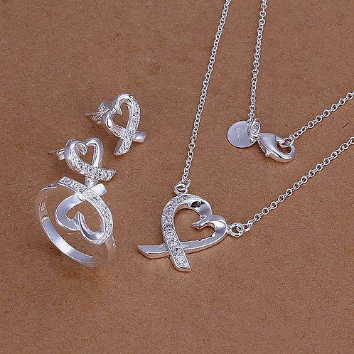 Winona Silver Plated Necklace Ring and Earrings Set