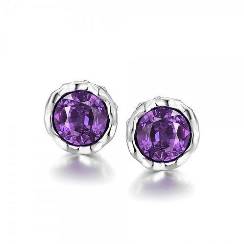 Korina White Gold Plated Earrings (Violet Stone)