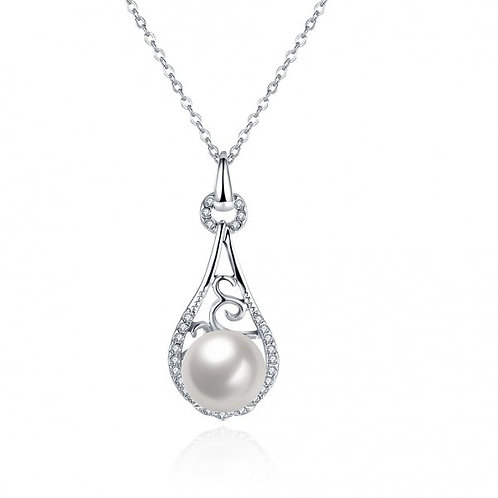 Karissa Pearl White Gold Plated Necklace by Elite
