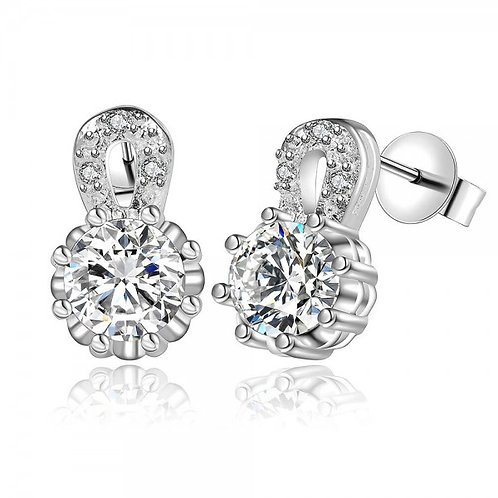 Crystalline 925 Silver Plated Earrings