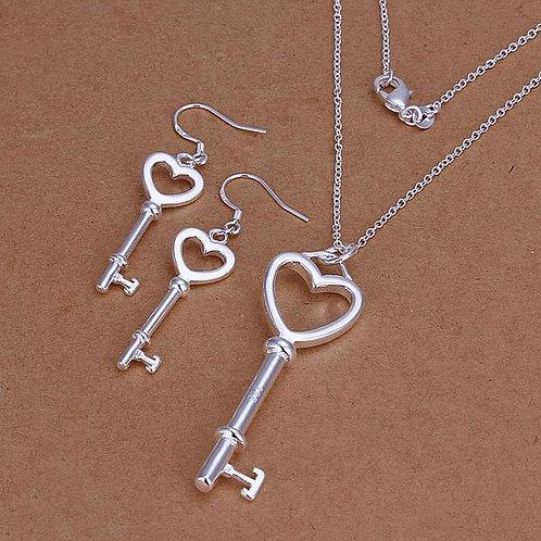 Key Heart 925 Silver Plated Set