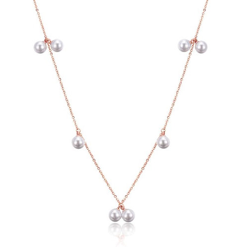 Ivory Pearl 316L Stainless Steel Rosegold Necklace