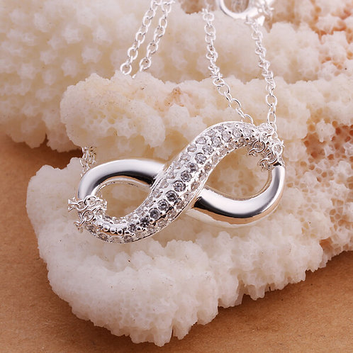 Infinity Silver Plated Double Chain Necklace