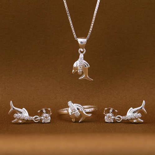 Marina Dolphin 925 Silver Earrings Necklace and Ring Set (Clearance Sale SRP1599