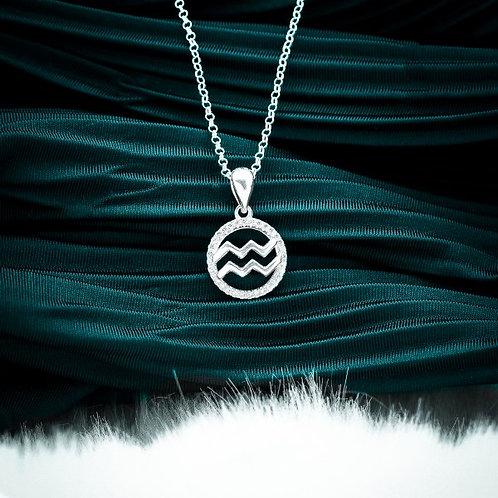 Zodiac Sign Aquarius 925 Silver Necklace