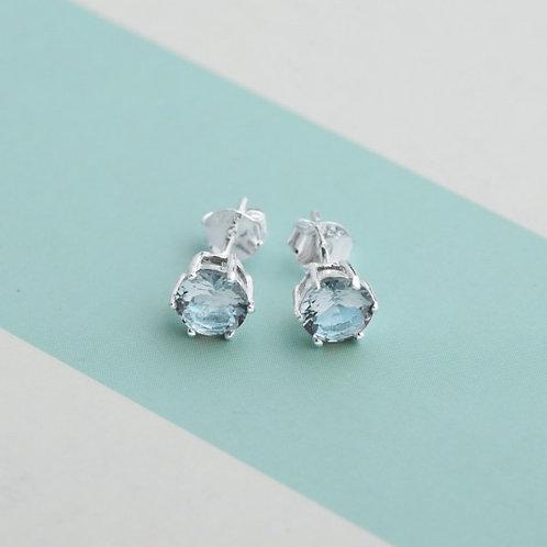 Blue Zircon Birthstone 2 for December 925 Silver Earrings