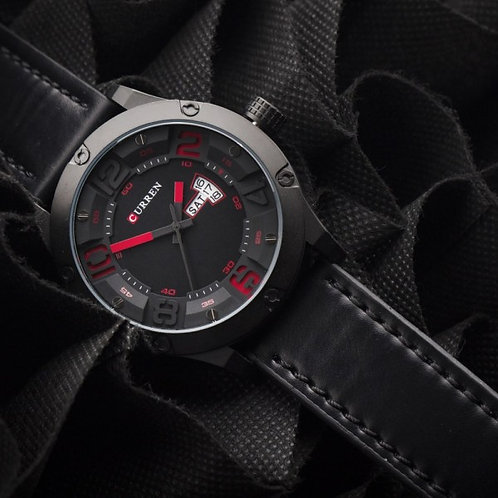 Lebron Leather by Curren Black Strap Black Face with Red Dial