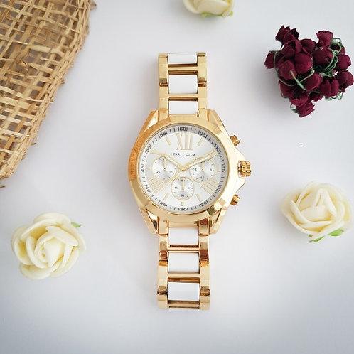 Alessa Dual Tone Watch by Carpe Diem (Gold and White Strap)