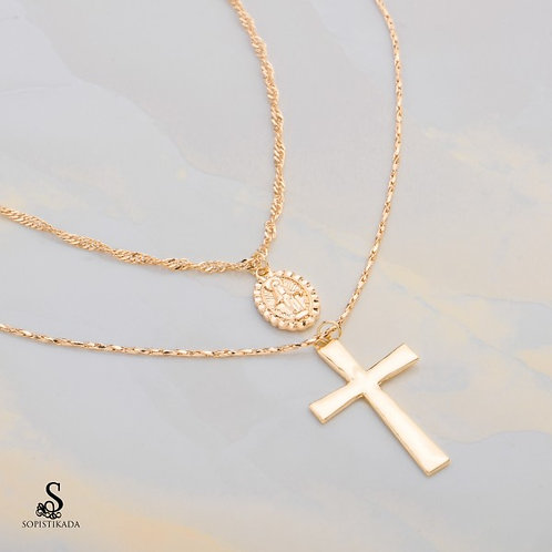 Wenie Stainless Steel Gold Plated Double Layered Necklace
