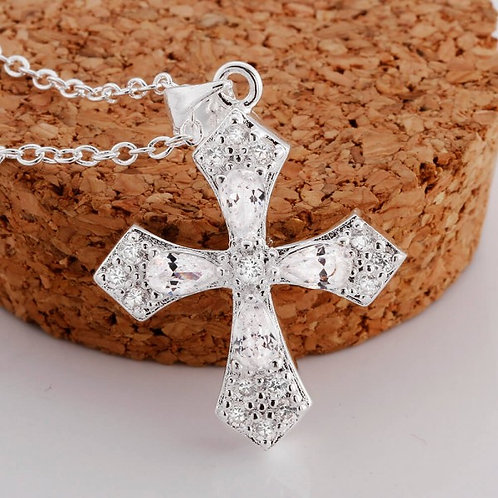 Lucy Silver Plated Cross Necklace